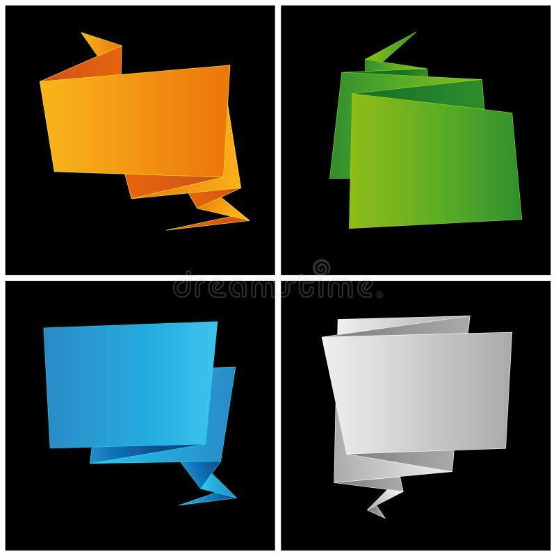 Origami, papier plié, a placé la bulle de la parole illustration de vecteur