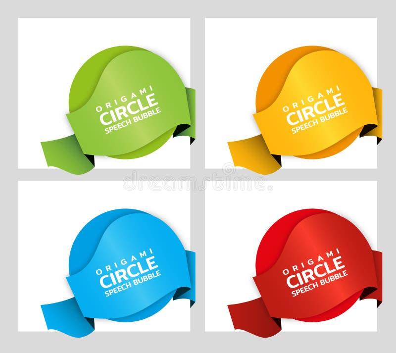 Origami papierowego round sztandar Sprzedaż sztandaru szablonu ustalony projekt Specjalna oferta Dyskontowa etykietka, odznaka, e royalty ilustracja