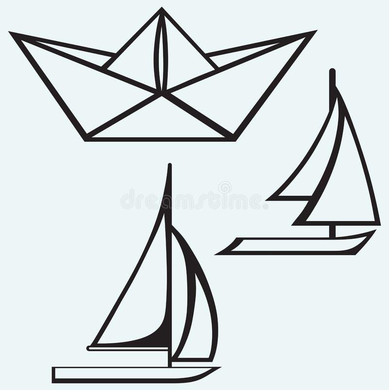 Origami papieru żaglówki i statku żeglowanie royalty ilustracja