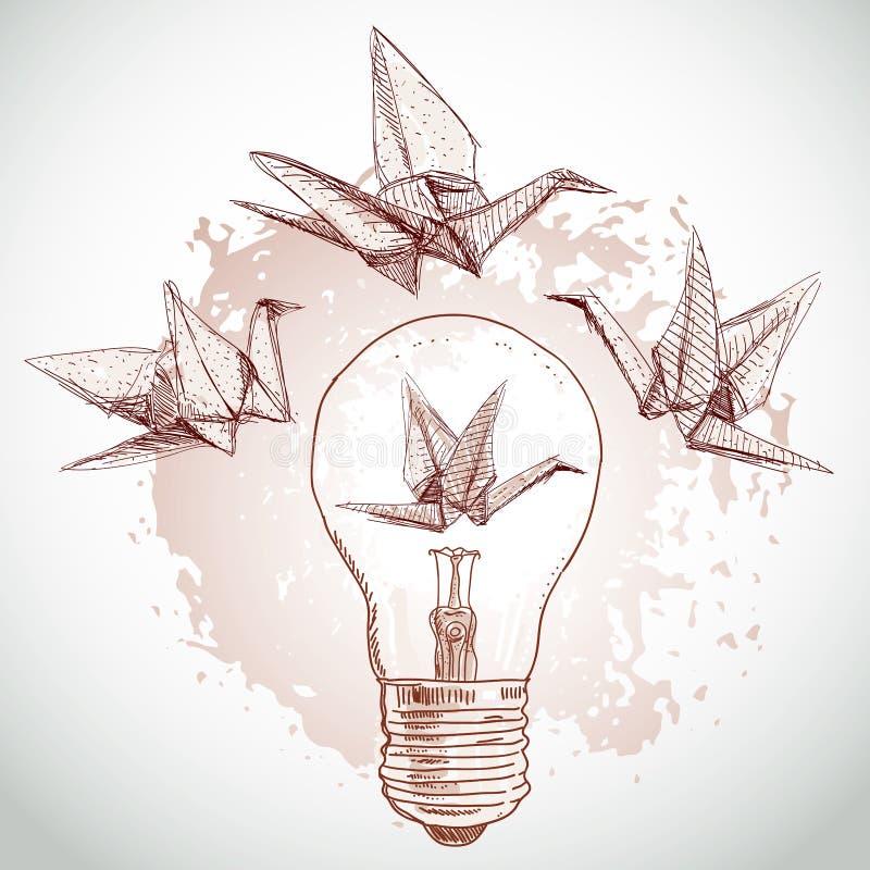 Origami papieru żurawie i światła nakreślenie linia na beżowym tle Grunge tekstura wektor ilustracji