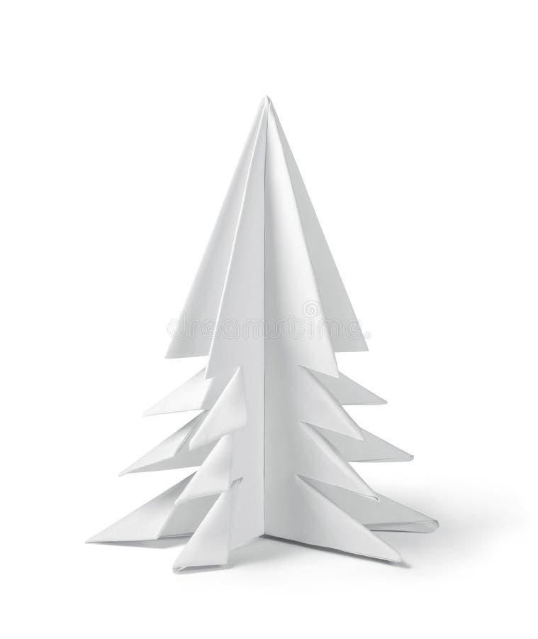 Origami papieru choinka, ścinek ścieżka zawierać obraz stock