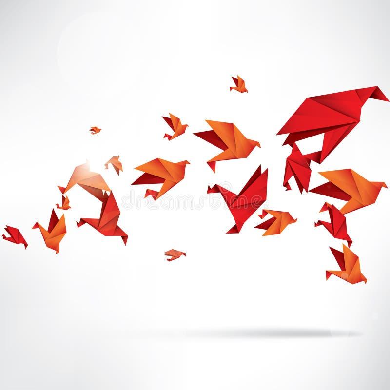 Origami papieru ptak na abstrakcjonistycznym tle ilustracja wektor