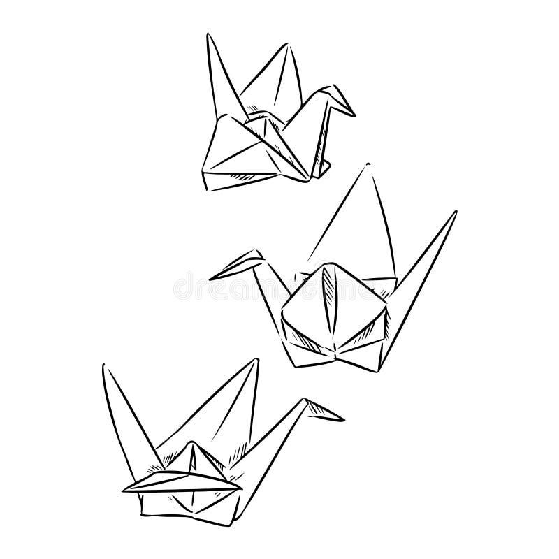 Origami papieru ręki rysujący łabędź Nakre?le? Doodles royalty ilustracja