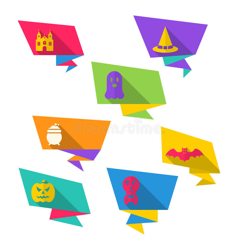 Origami papieru sztandary z Halloweenowymi symbolami ilustracja wektor