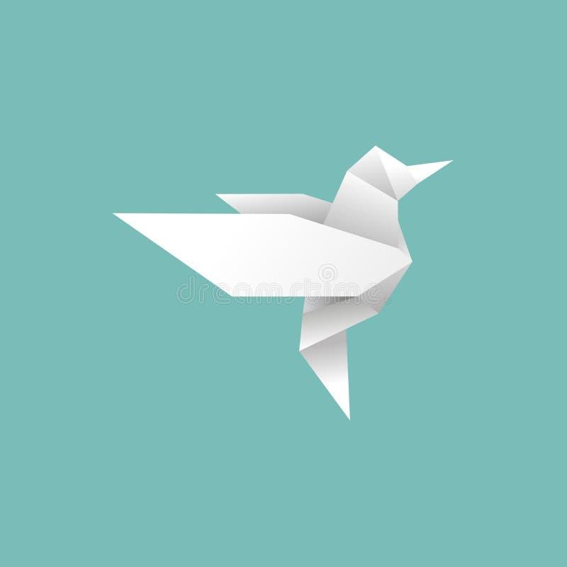 Origami-Papiervogel fliegt auf blauem Hintergrund in die Freiheit stock abbildung