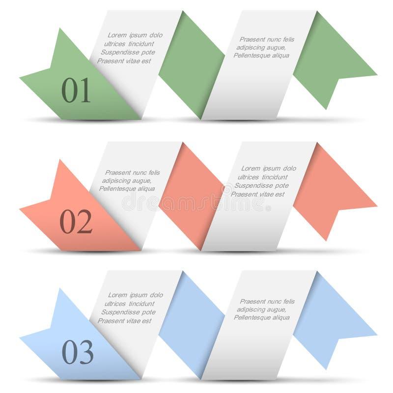 Origami papiery liczący sztandary w pastelowych kolorach ilustracji