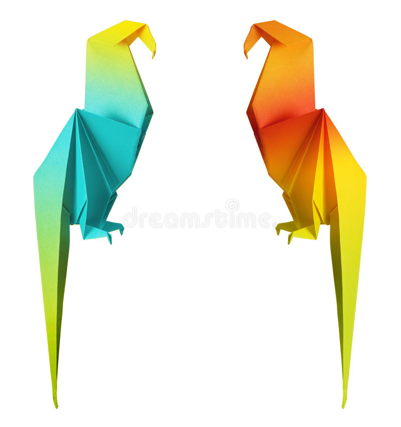 Origami parrot stock images