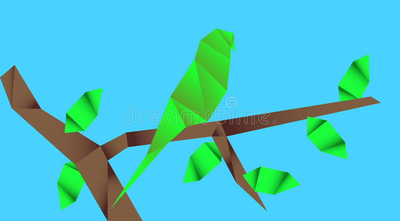 Origami parrot. Unusual illustration picture of parrot vector illustration