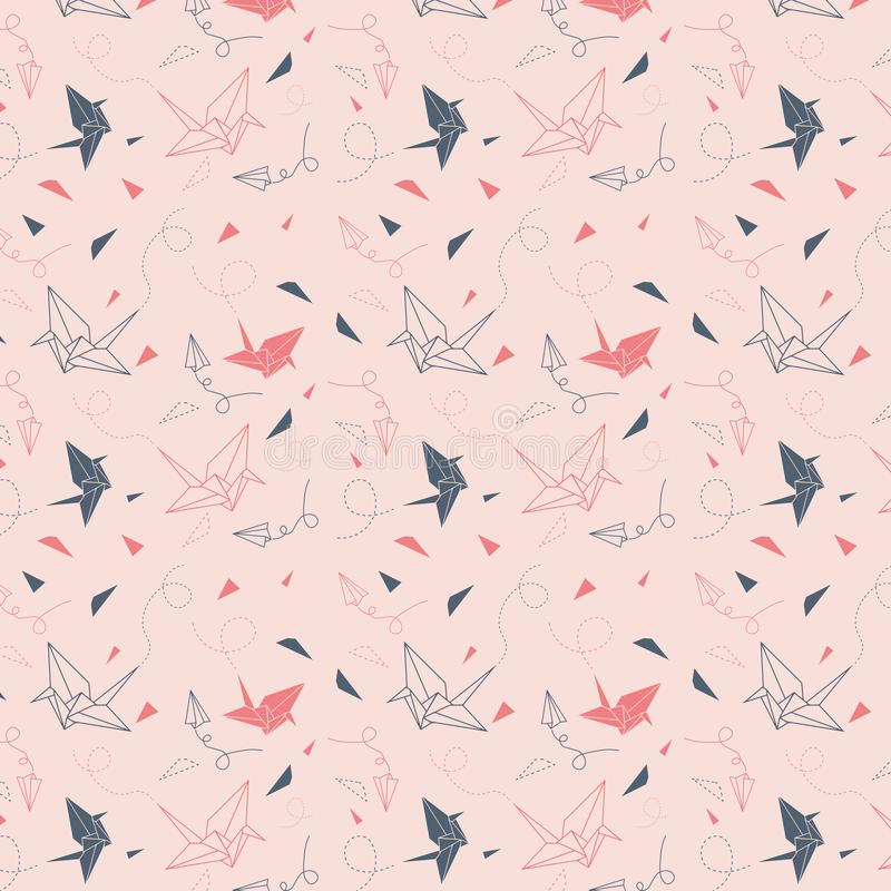 Origami pattern with birds royalty free stock image