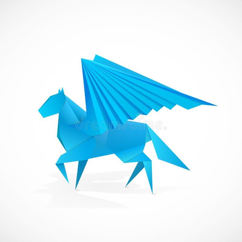 Origami pegasus. For web or print stock illustration