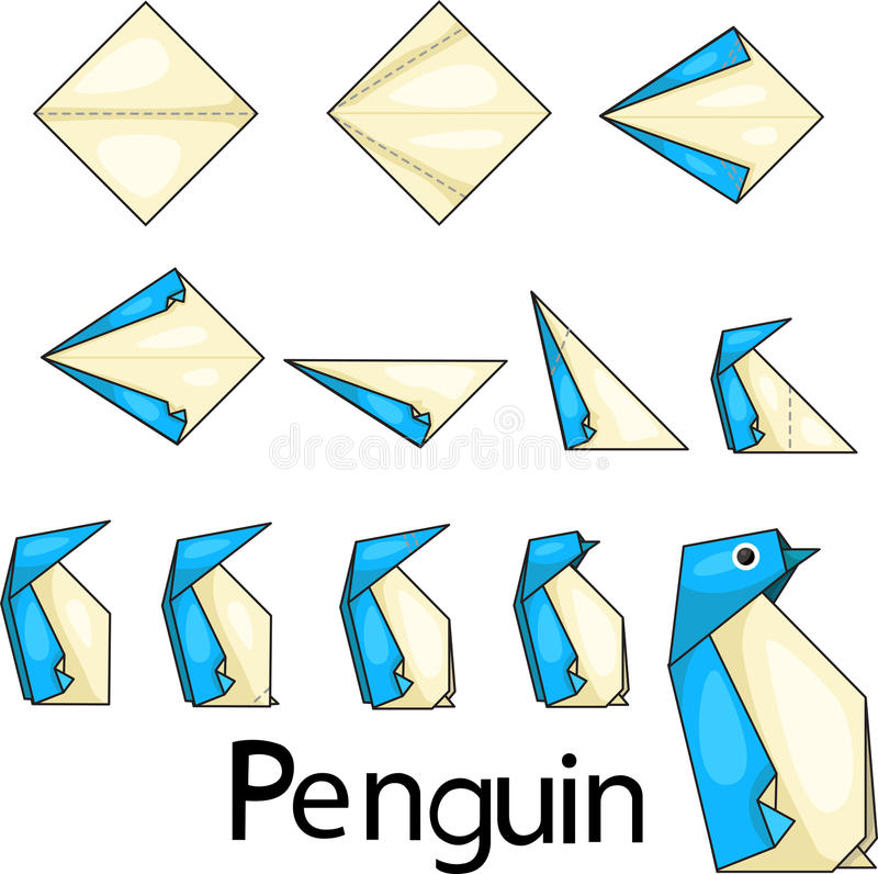 Origami penguin. Illustrator of origami with penguin stock illustration