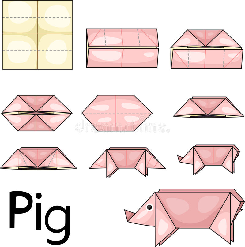 Origami pig. Illustrator of origami with pig stock illustration