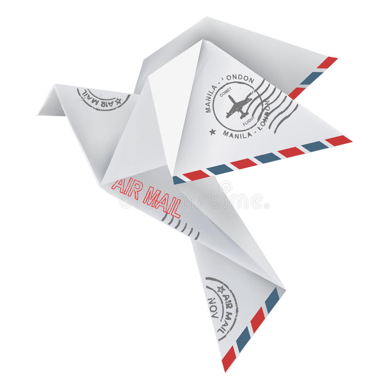 Origami pigeon. In flying position with post stamps, in white background. Vector illustration vector illustration