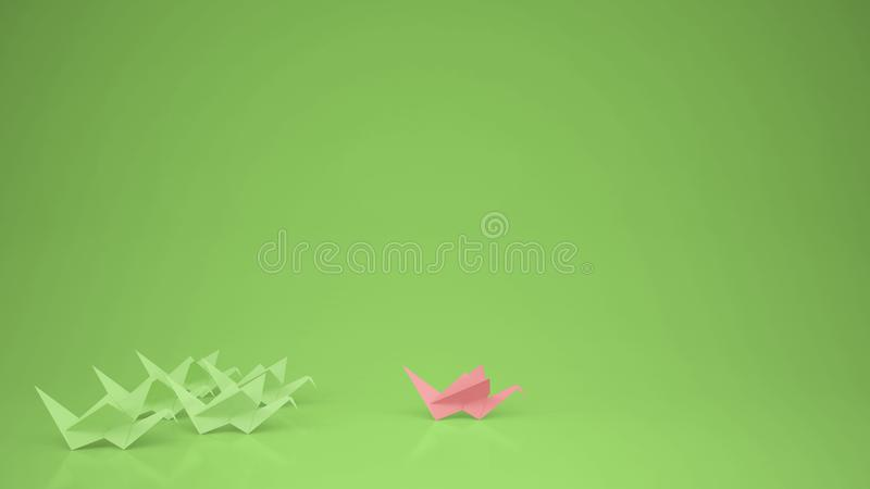 Origami pink paper crane leading group of cranes, leadership motivation concept idea with copy space, green stock illustration