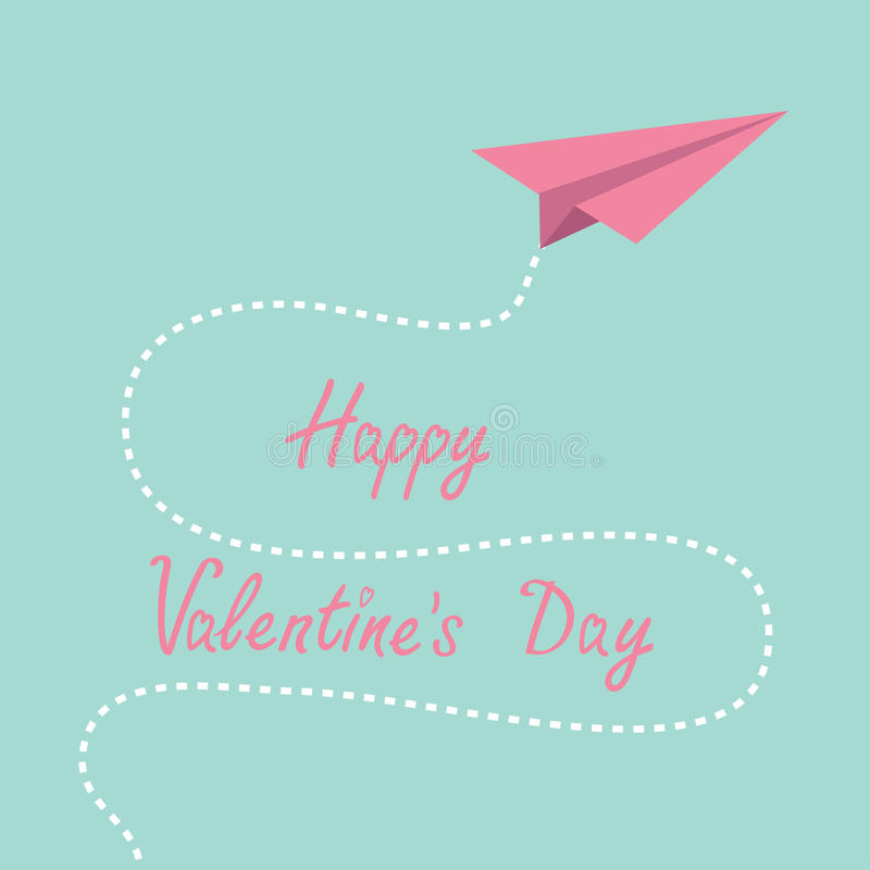Origami pink paper plane. Dash line in the sky. Ha. Ppy Valentines day . Vector illustration royalty free illustration
