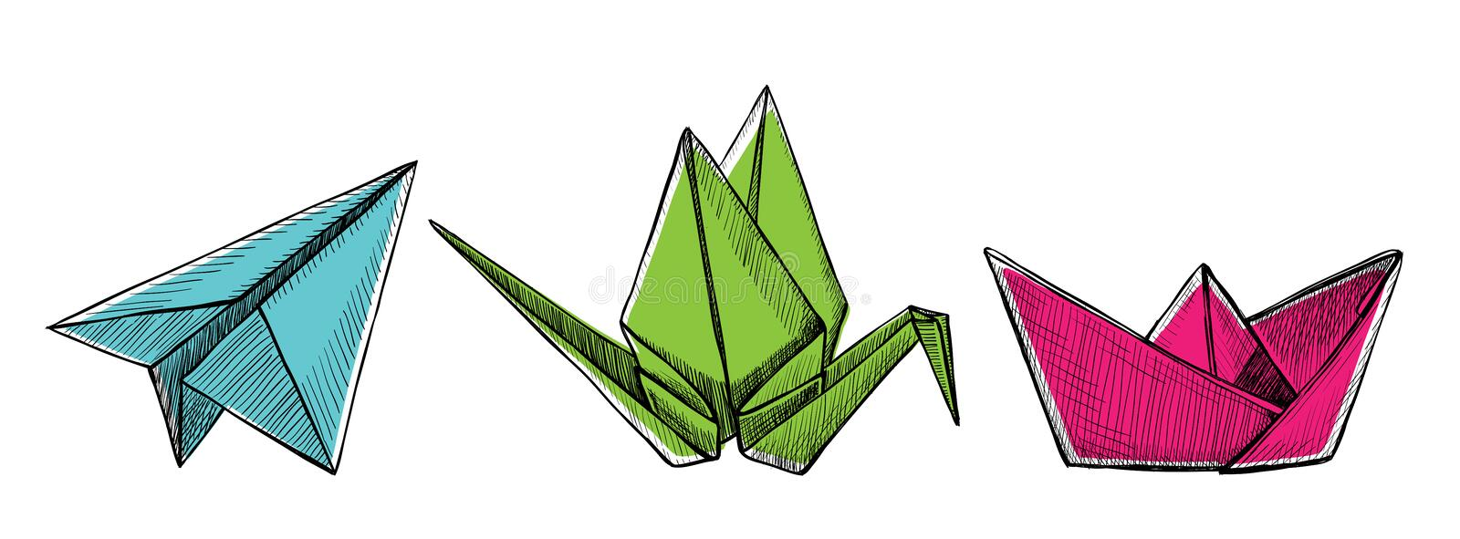 Origami plane, crane and boat, vector hand drawn graphic illustration royalty free illustration