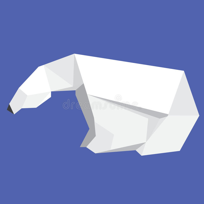 Origami Polar Bear. The polar bear is a carnivorous bear whose native range lies largely within the Arctic Circle, encompassing the Arctic Ocean, its surrounding royalty free stock images