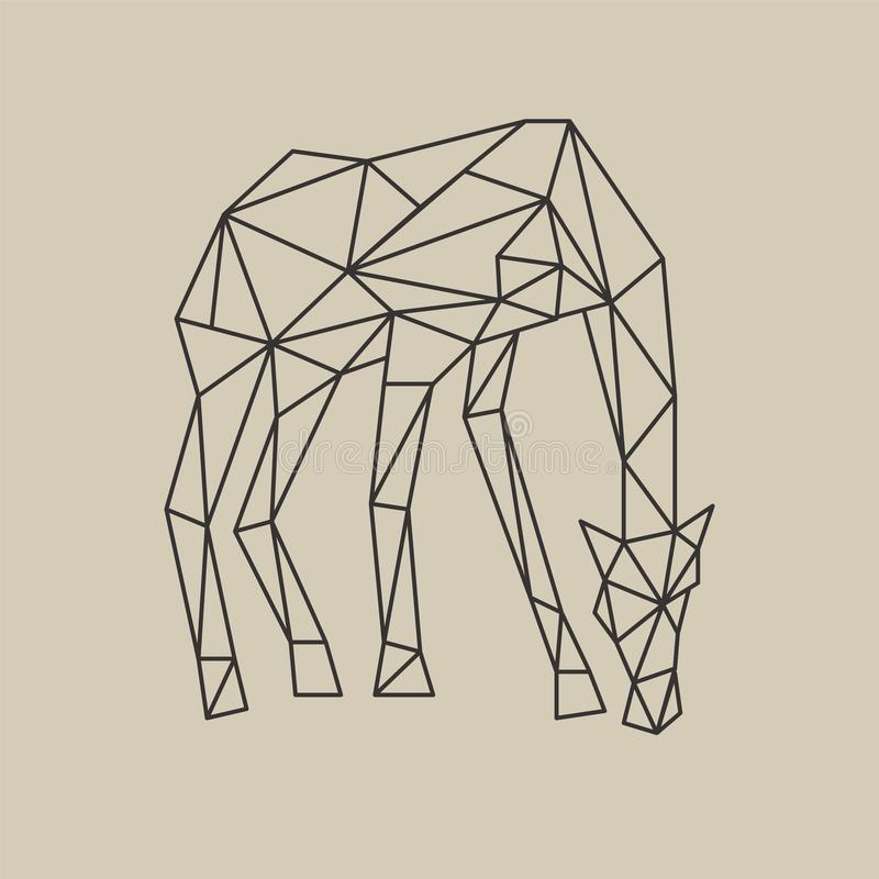 Download Origami Polygonal Line Style Giraffe With Head Down Vector Illustration Stock
