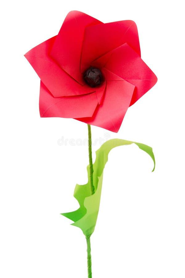 Origami poppy flower. On a white bakground stock photos