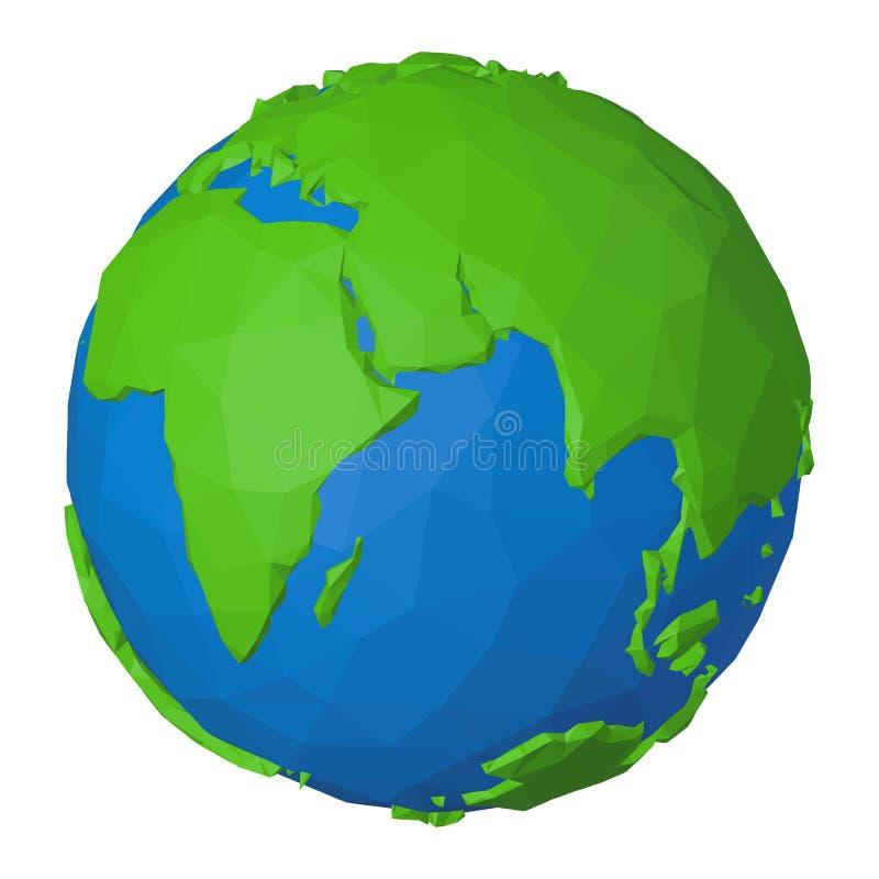 Origami projektuje kulę ziemską z 3d papieru skutkiem gdy ilustracja planety ziemia ilustracja wektor