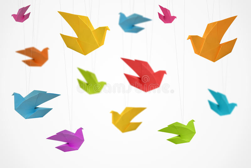 Origami Ptaków Tło zdjęcie stock