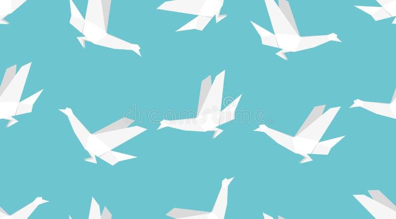 Origami ptasi bezszwowy wzór Japoński tło ilustracji