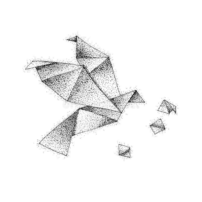 Origami Ptasi lot Dotwork royalty ilustracja