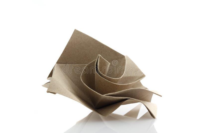 Origami róży kwiat obok przetwarza papercraft zdjęcie royalty free