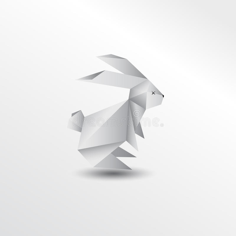 Origami rabbit. Animal colorful colection paper stock illustration