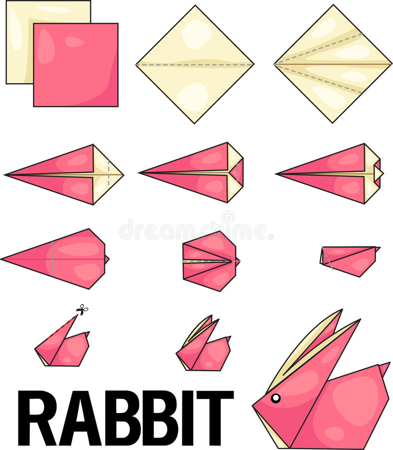 Origami rabbit. Illustrator of origami with rabbit royalty free illustration