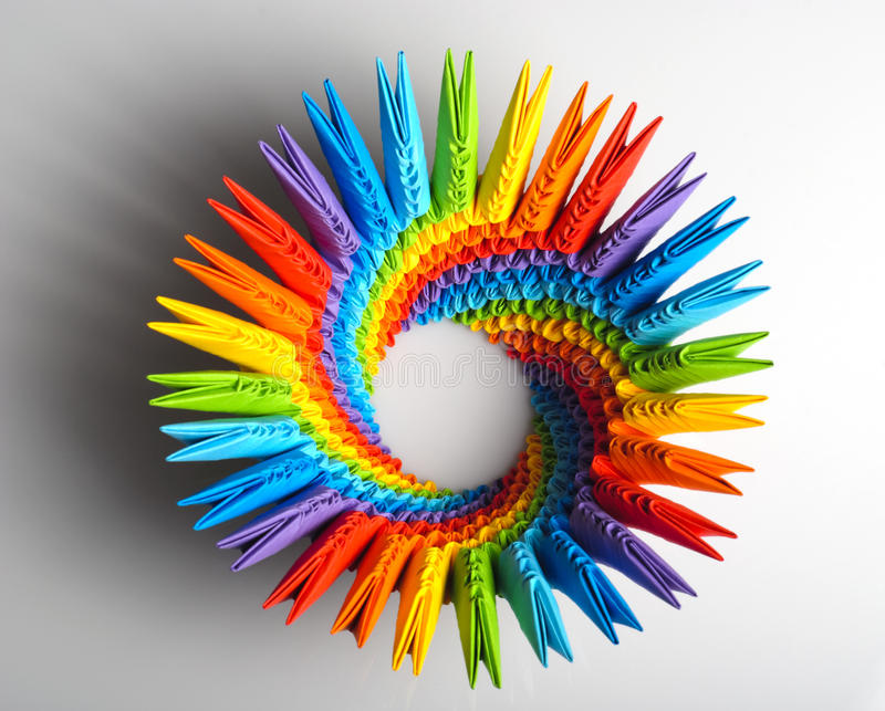 Origami rainbow 3d capacity stock image
