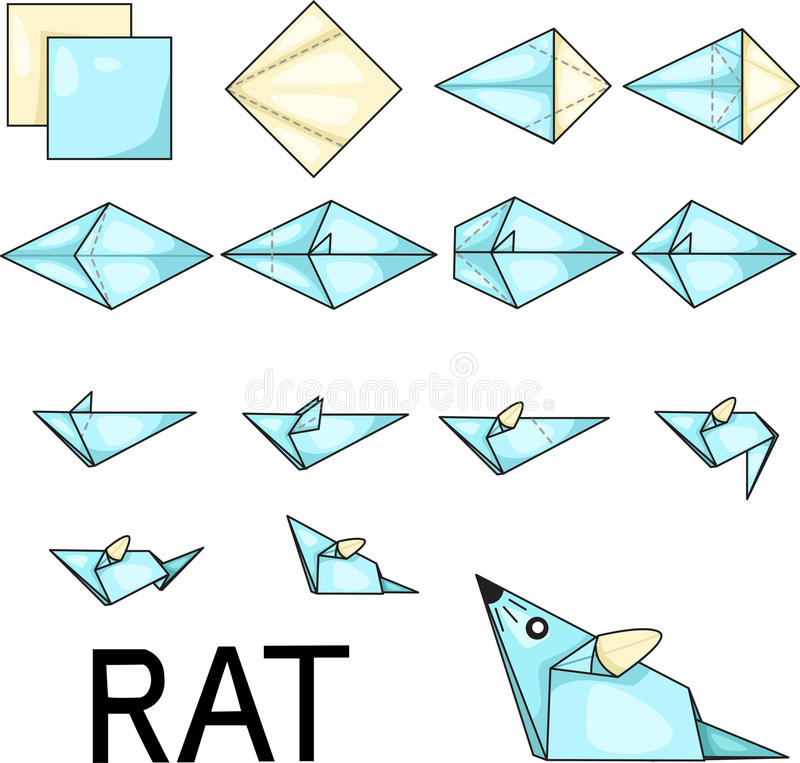 Origami rat. Illustrator of origami with rat vector illustration