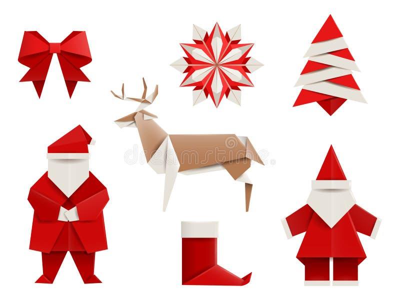 Origami realistici, Natale fissato: Santa, cervo, albero di Natale, fiocco di neve e così Illustrazione di vettore illustrazione di stock