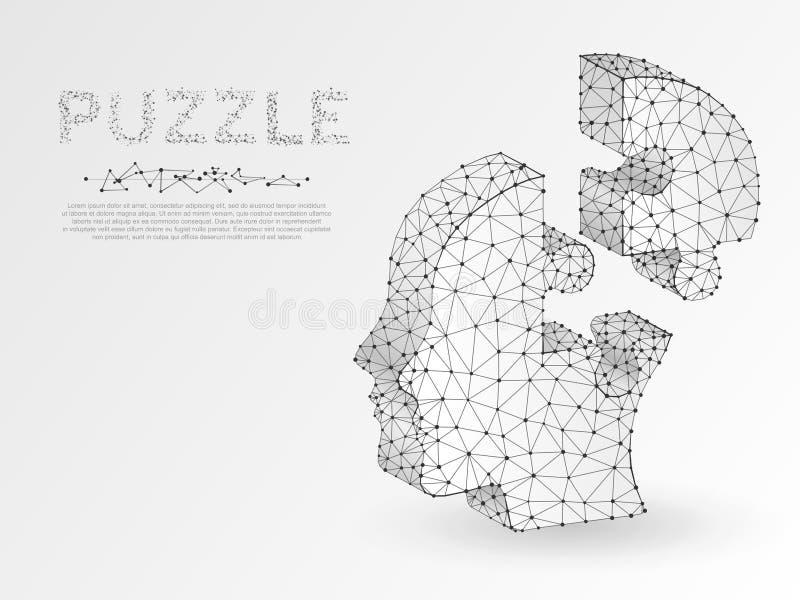 Origami redet Puzzlekopf an Geschäft Infographic Niedriger menschlicher Neonpolykopf in der Form des Puzzlespiels Vektorautismus lizenzfreie abbildung