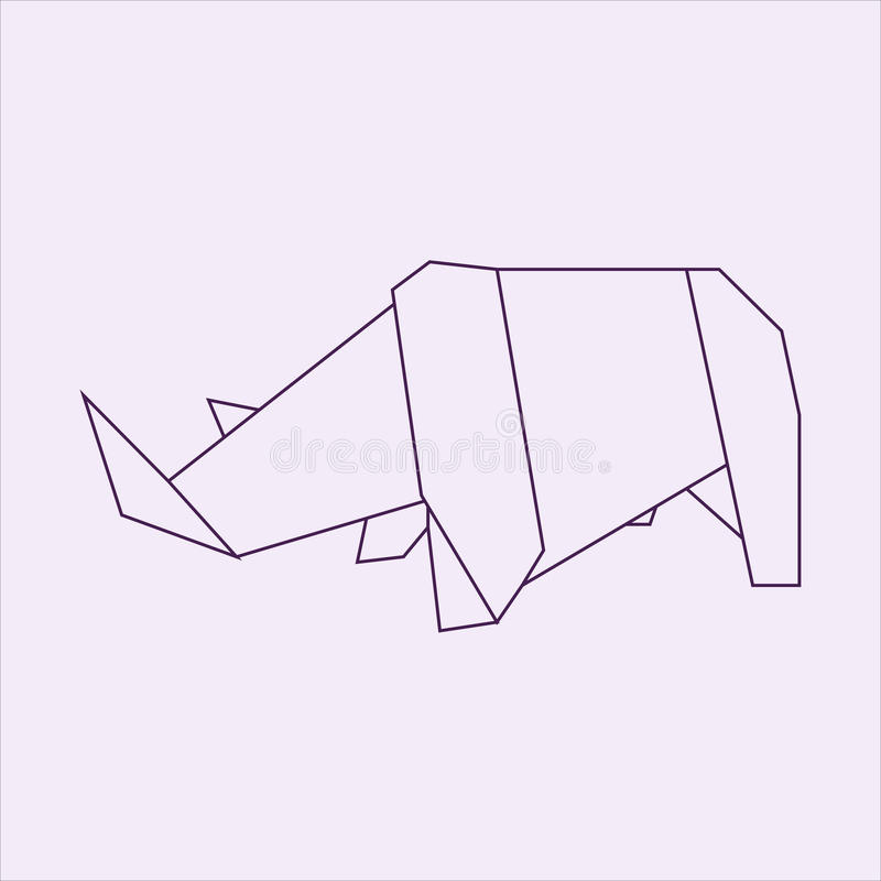 Download Origami Rhino Stock Illustration Of Drawing