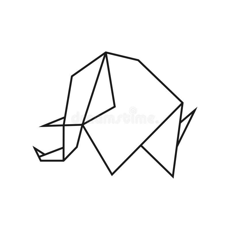 Origami słoń Geometryczny kreskowy kształt dla sztuki fałdowy papier Loga szablon wektor royalty ilustracja