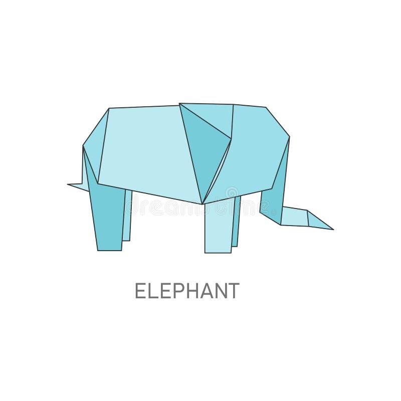Origami słoń składał od błękitnego papieru, odosobniony Afrykański zwierzę w tradycyjnym Japońskim rzemiosło projekta stylu ilustracja wektor