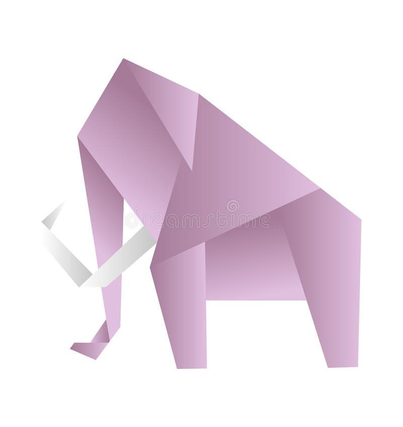 Origami słoń, wektor Różowa papierowa postać na białym tle ilustracja wektor