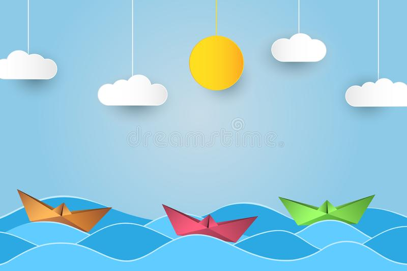 Origami sailing boat in waves. Paper art style background with ship, ocean, sun and clouds. Vector. stock illustration