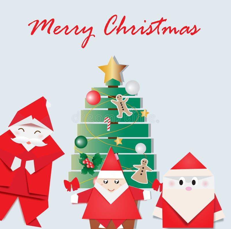 Origami Santa στην κάρτα Χαρούμενα Χριστούγεννας ελεύθερη απεικόνιση δικαιώματος