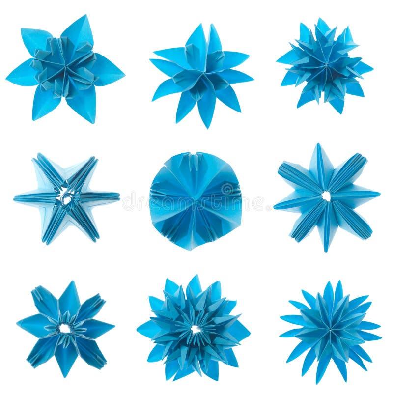 Origami Schneeflockeset lizenzfreies stockbild
