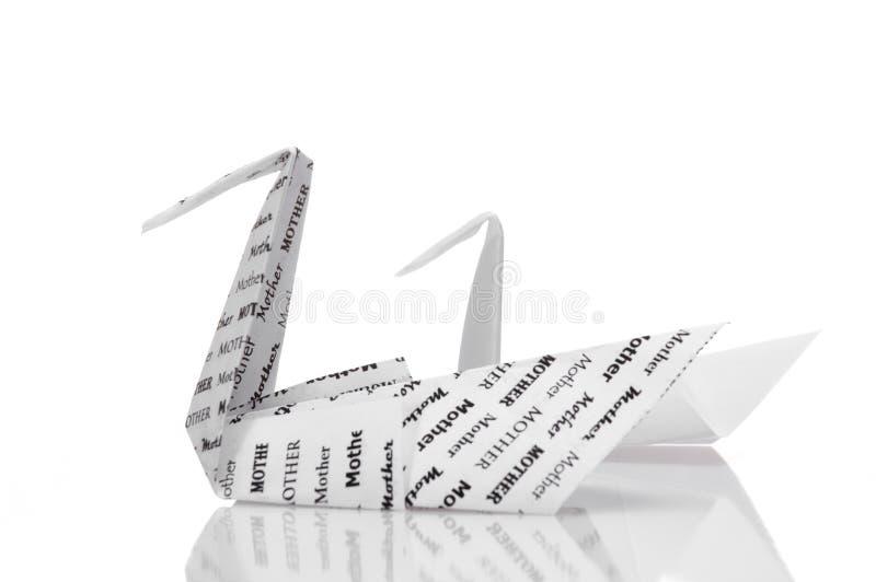 Origami Schwan und Cygnet lizenzfreies stockbild