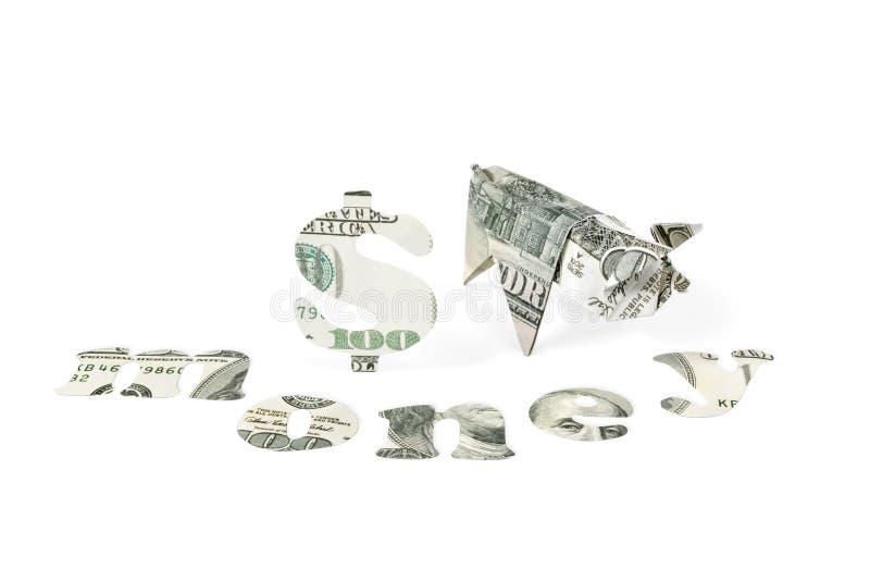 Origami Schwein und Geld lizenzfreie stockbilder