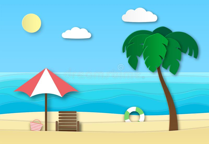 Origami sea beach. Summer vacation abstract landscape with sand, ocean waves and sun. Summertime relax 3d paper art royalty free illustration