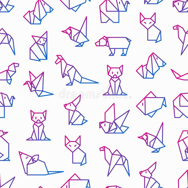 Origami seamless pattern with thin line icons: penguin, camel, f vector illustration