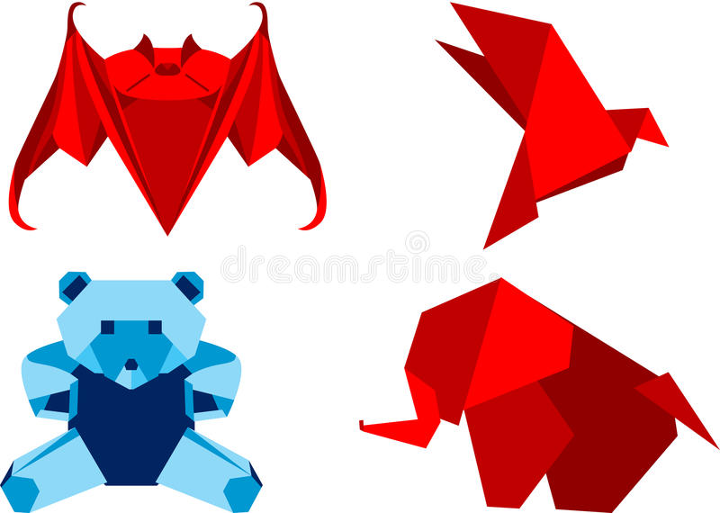 Origami set animals. Set of four origami animals, isolated. Vector illustration royalty free illustration