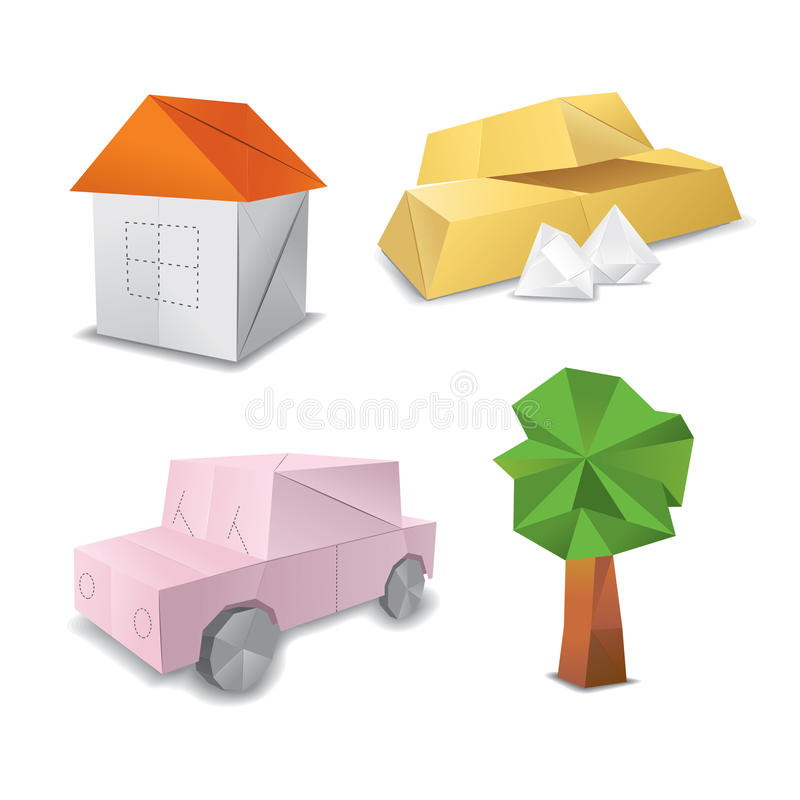 Origami set symbol. Origami wealth and home set symbol royalty free illustration