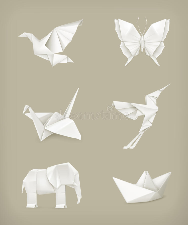 Origami set, white. Computer illustration stock illustration