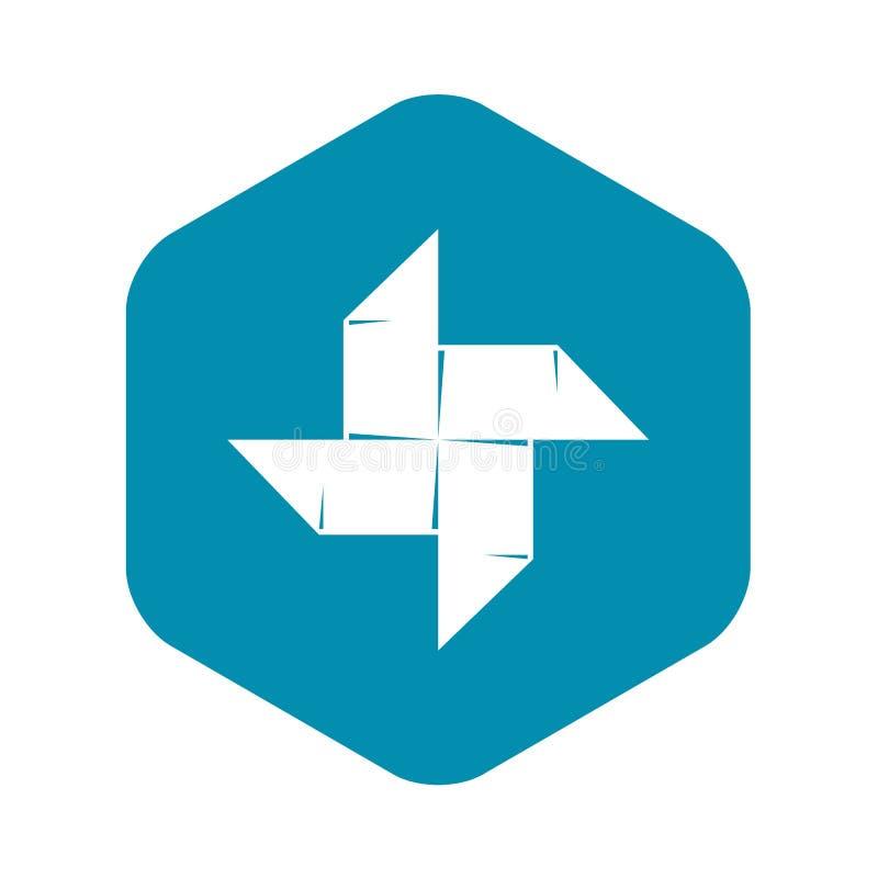 Origami shuriken значок, простой черный стиль иллюстрация штока