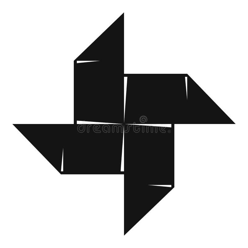 Origami Shuriken Icon Simple Black Style Stock Vector